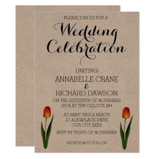 Floral Tulip Ecru Wedding Invitations