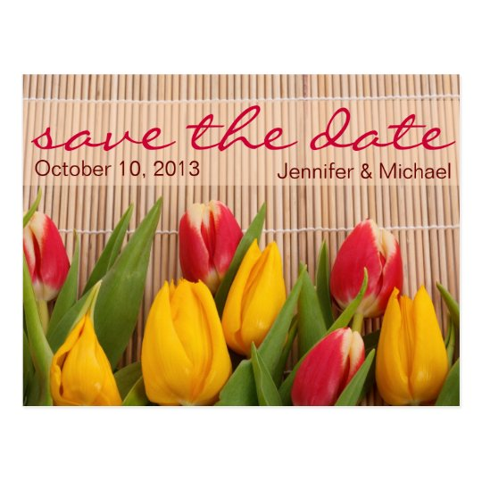 Floral Tulip Save the Date Wedding Postcard