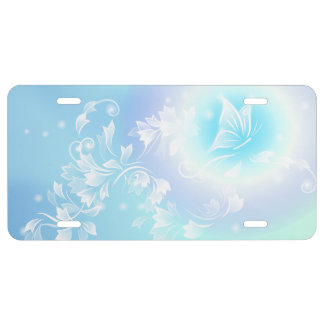 Floral Turqoise White Butterfly License Plate
