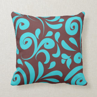 Floral turquoise and brown throw pillow