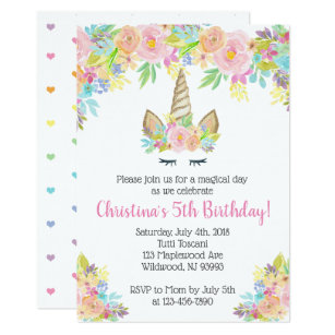 Floral Unicorn Birthday Invitations For Girls