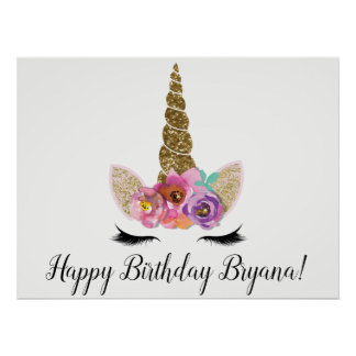 Floral Unicorn Gold Glitter Birthday Party Banner Poster