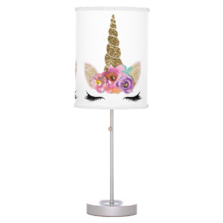 Floral Unicorn Gold Glitter Girly Girls Sparkle Table Lamp