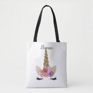 Floral Unicorn Gold Glitter Girly Girls Sparkle Tote Bag
