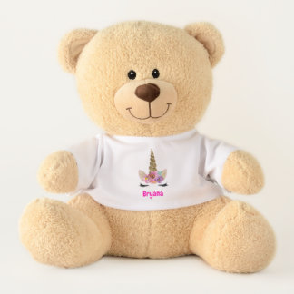 Floral Unicorn Horn Cute Personalized Teddy Bear