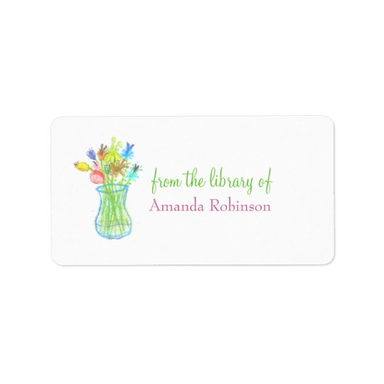 Floral vase personalized bookplate label