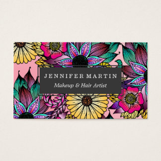 Floral Vibrant Hand Drawn Illustrated Flowers Business Card