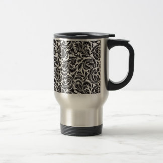 Floral Victorian Black on White Travel Mug
