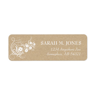 Floral Vines Kraft Paper Address Label
