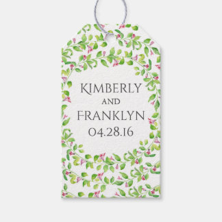 floral vines watercolor painted wedding pack of gift tags