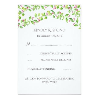 Floral Vines Wedding RSVP Card