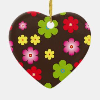 Floral vintage background ceramic heart ornament