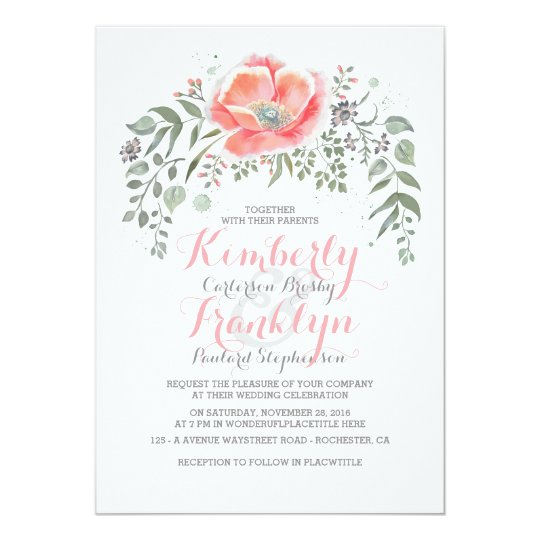 Floral Vintage Boho Pink Wedding Card