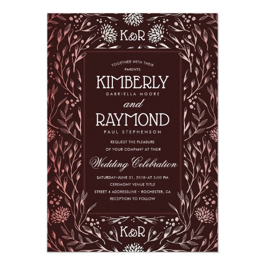 Floral Vintage Burgundy and Rose Gold Wedding Card