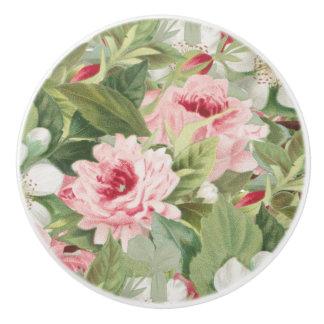 Floral vintage ceramic knob w/ pink roses
