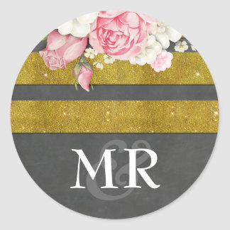 Floral Vintage Chalkboard and Gold Wedding Round Sticker