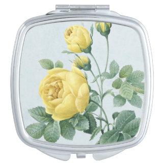 Floral vintage compact mirror w/ rose