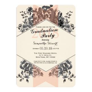Floral vintage et rayure de pêche carton d'invitation  12,7 cm x 17,78 cm