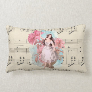 Floral Vintage Fairy Dancer Ballerina Sheet Music Lumbar Pillow
