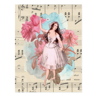 Floral Vintage Fairy Music Ballerina Dancer Postcard