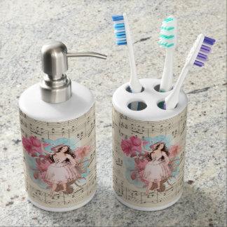 Floral Vintage Fairy Music Ballerina Dancer Soap Dispenser And Toothbrush Holder