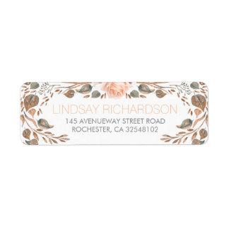 Floral Vintage Fall Woodland Garden Wedding Return Address Label