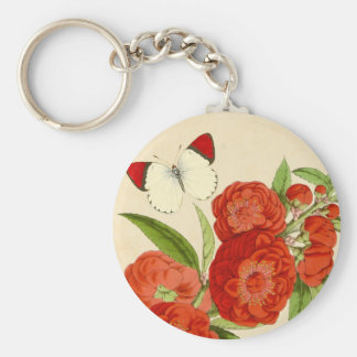 Floral vintage keychain w/ flower and butterfly