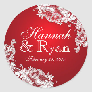Floral Vintage Lace Red Round Sticker