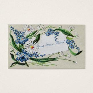 Floral vintage, marguerites et jacinthes des bois, cartes de visite