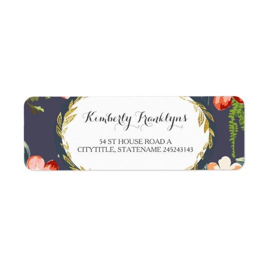 floral vintage navy gold wedding return address label