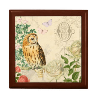 Floral vintage owl box with beautiful roses jewelry boxes