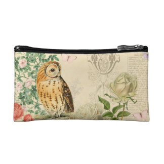 Floral vintage owl cosmetic bag w/ beautiful roses