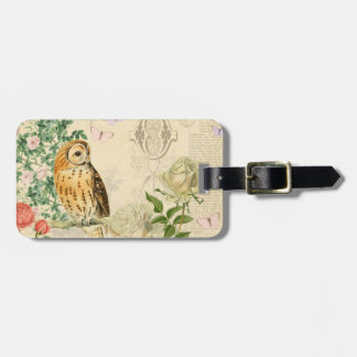 Floral vintage owl luggage tag with beautiful rose