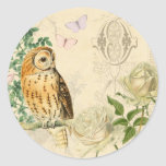 Floral vintage owl stickers with beautiful roses