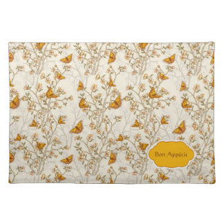 Floral Vintage Pattern with Butterflies Place Mats