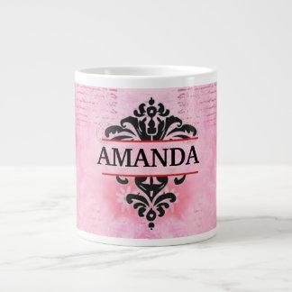 Floral Vintage Pink Monogrammed Large Coffee Mug