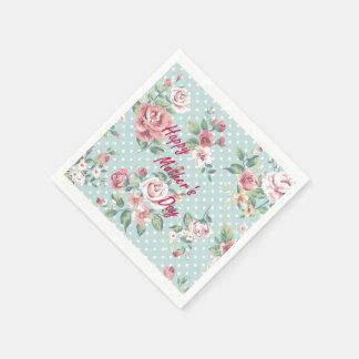 Floral Vintage Print - Happy Mother's Day Paper Napkins