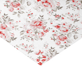 "Floral Vintage Red Winter Roses Pattern 10"" X 15"" Tissue Paper"