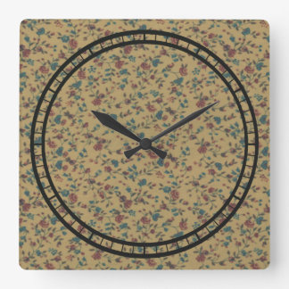 Floral Vintage Romantic Old Fashion Stylish Chic Square Wall Clock