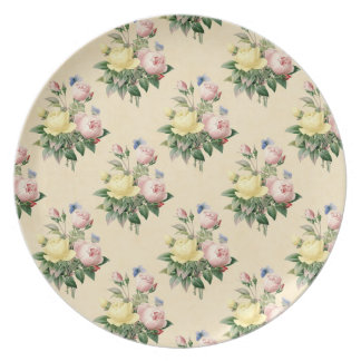 Floral vintage rose flower pattern melamine plate