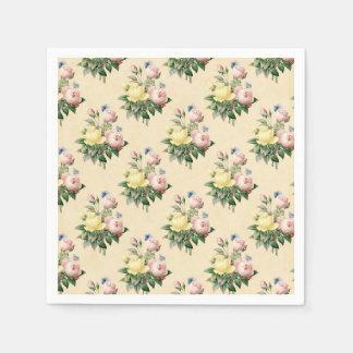 Floral vintage rose flower pattern paper napkins