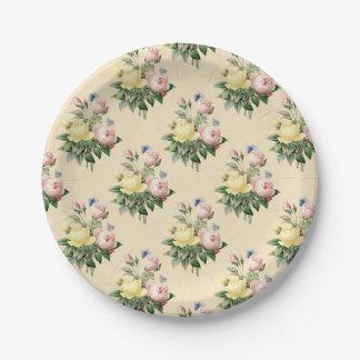 Floral vintage rose flower  pattern paper plate