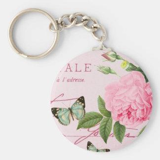 Floral vintage rose keychain in pink