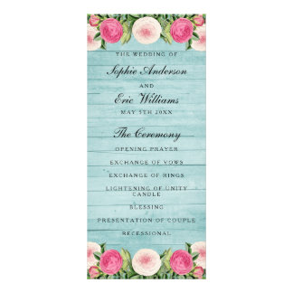 Floral vintage rose wedding program personalized rack card