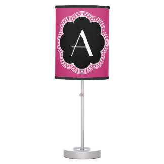 Floral Vintage Style Border Monogram Initial Table Lamp