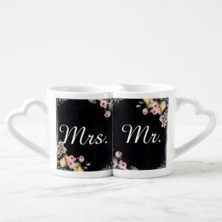 floral vintage typography Chalkboard wedding Couples' Coffee Mug Set