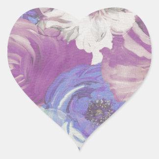 Floral Vintage Wallpaper Pattern Heart Sticker