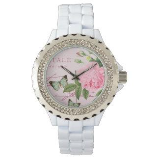 Floral vintage watch girly w/ pink rose