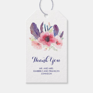 Floral Vintage Watercolor Boho Wedding Gift Tags