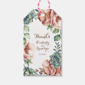 floral vintage watercolor fall ivory wedding pack of gift tags